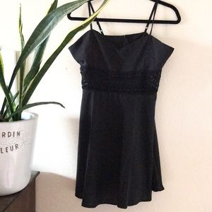 Black lace crochet cut out cocktail dress